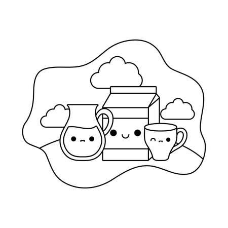 cup ceramic with set food in landscape kawaii style vector illustration design