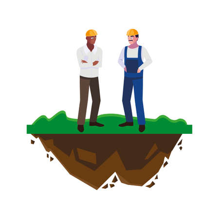 interracial male builders constructors on the lawn vector illustration design