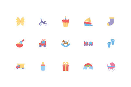baby objects and toys icon set design, Child newborn childhood innocence and little theme Vector illustration