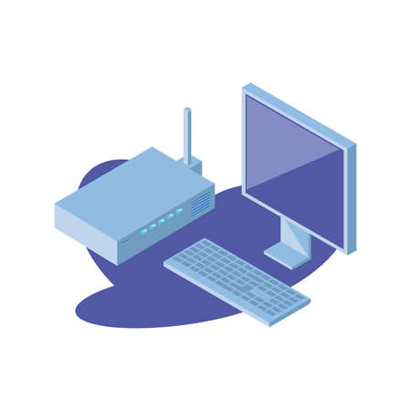 desktop computer screen with keyboard and wireless router vector illustration design