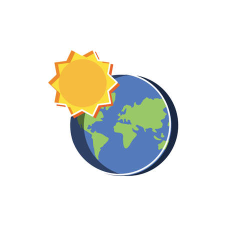 Planet sphere and sun design, Continent earth world globe ocean and universe theme Vector illustration