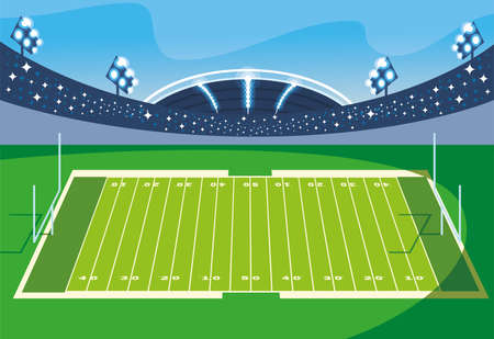 football stadium with lights, soccer game american