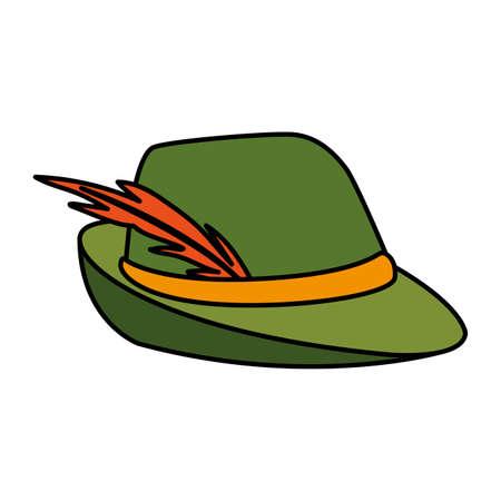 German hunting hat with feather on white background vector illustration design Illusztráció