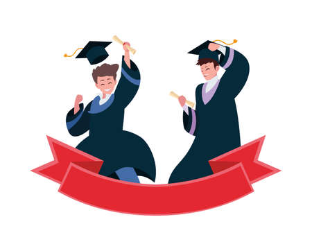 happy students boys graduated celebrating with ribbon vector illustration design