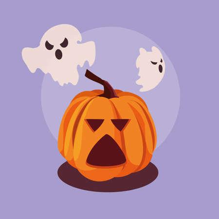 halloween pumpkin with ghosts flying vector illustration design 스톡 콘텐츠 - 154201718