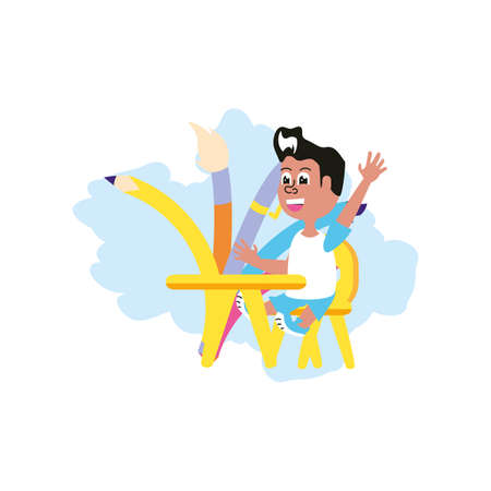 student boy sitting in school desk with set of pencils vector illustration design