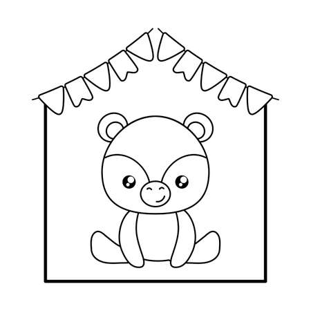 cute little bear baby with garlands hanging vector illustration design