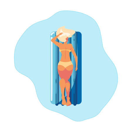 woman tanning in float mattress floating in water vector illustration design