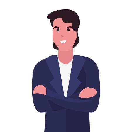 man character portrait cartoon design vector illustration