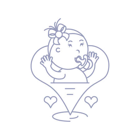 cute baby girl with pacifier in hearts love vector illustration design