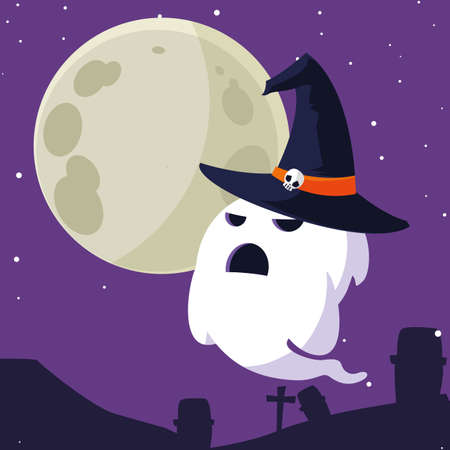 Ghost cartoon design, Halloween holiday horror scary celebration autumn dark and party theme Vector illustration 스톡 콘텐츠 - 154246189