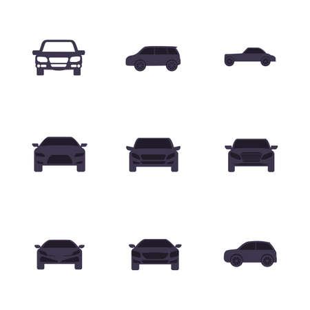 Black cars set design, Vehicle automobile auto transportation transport wheel automotive and speed theme Vector illustration