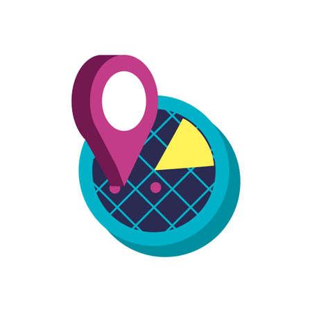 radar location with pin location vector illustration design
