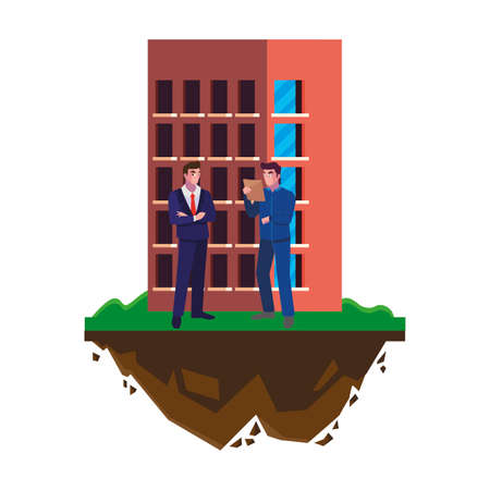 builder constructor with engineer and building vector illustration design