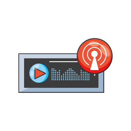 audio player display with sound graphic vector illustration design