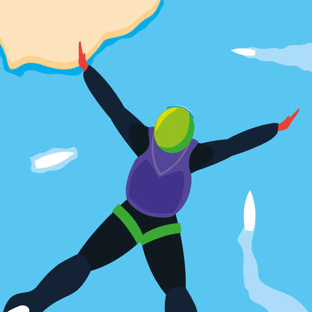 man skydiver in air with parachute closed vector illustration design