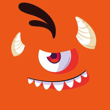 Monster cartoon design, Creature face emoticon caricature halloween character and mutant theme Vector illustration 스톡 콘텐츠 - 154254373