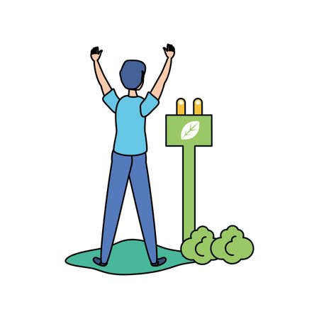Avatar man design, Sustainability eco friendly green recycle ecology renewable and solution theme Vector illustration