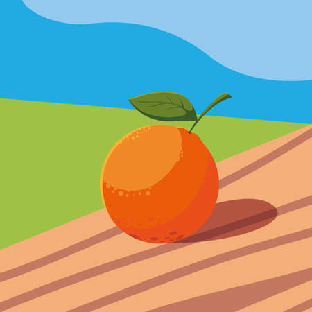 fresh orange fruit in wooden table and landscape vector illustration design
