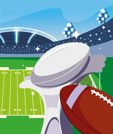 Trophy and ball in front of grandstand design, Super bowl american football sport hobby competition game training equipment tournament and play theme Vector illustration 向量圖像