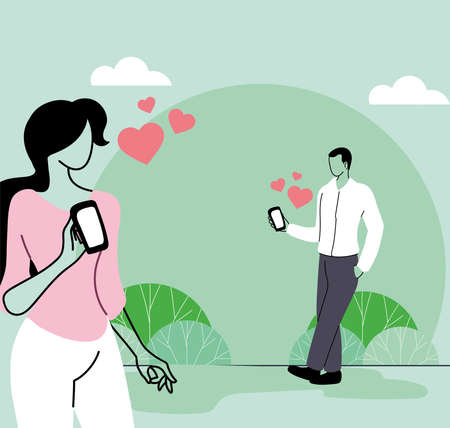 Young man and woman couple in love vector illustration design