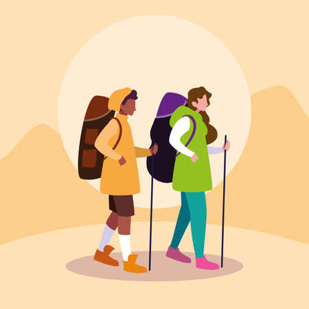 young couple traveller avatar character vector illustration design