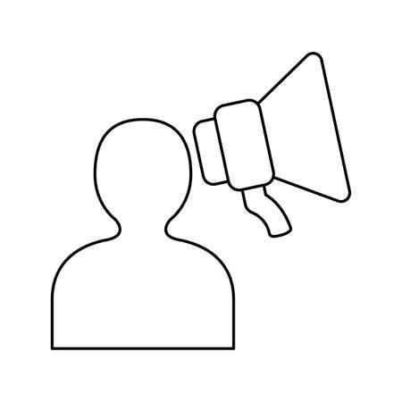 silhouette person avatar with megaphone vector illustration design 矢量图像