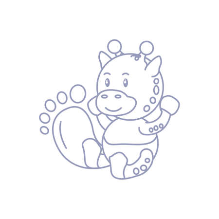 cute giraffe baby animal and footprint decoration vector illustration design