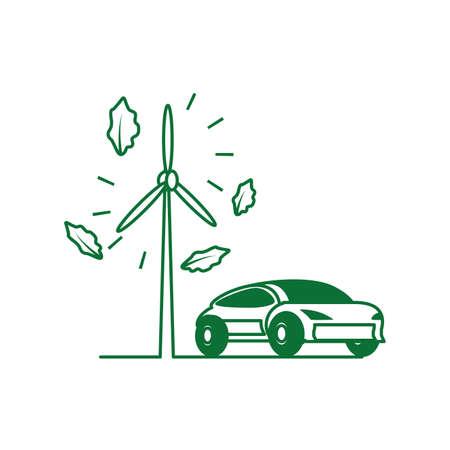 car sedan transportation with windmill air power vector illustration design Illustration