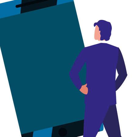 copyright of intellectual digital man smartphone vector illustration