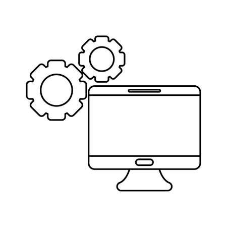 desktop computer with gears pinions vector illustration design Vector Illustration