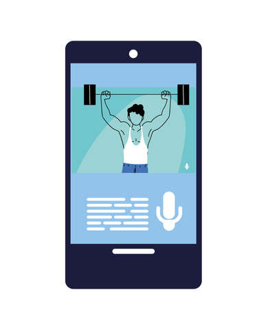 man doing sports in a mobile phone application vector illustration design