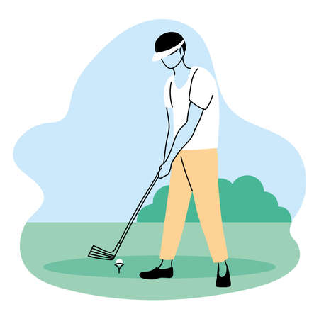 young man playing sports games in park vector illustration desing Vetores