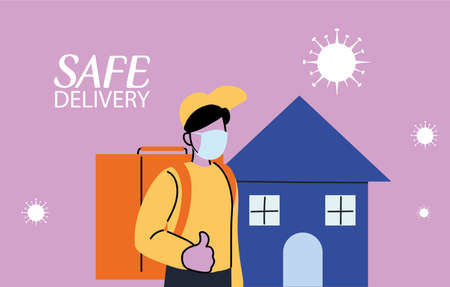 domiciliary man carrying safe packages in the city vector illustration desing Ilustração