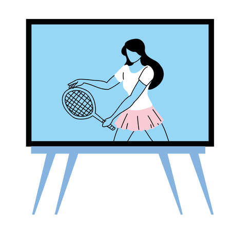 woman doing sports on tv vector illustration design Vectores