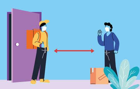 men with masks delivering and receiving secure packagevector illustration desing Vektorové ilustrace