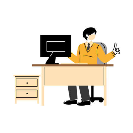 male secretary wearing face mask at her workplace vector illustration design Vectores