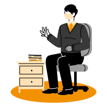 male secretary wearing face mask at her workplace vector illustration design Vector Illustration