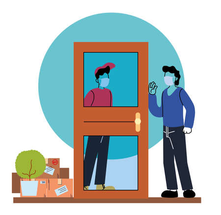 men with masks delivering and receiving secure package vector illustration desing