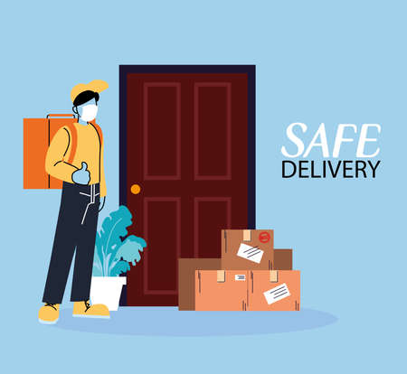 male courier with masks carrying package vector illustration desing