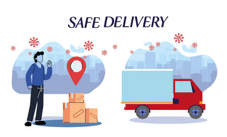 messenger and truck carrying packages through the city with security protocols vector illustration desing