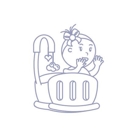 baby girl in cute baby crib vector illustration design