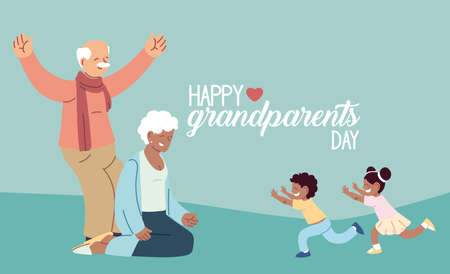 Grandmother and grandfather with grandchildren of happy grandparents day design, Old woman and man theme Vector illustration