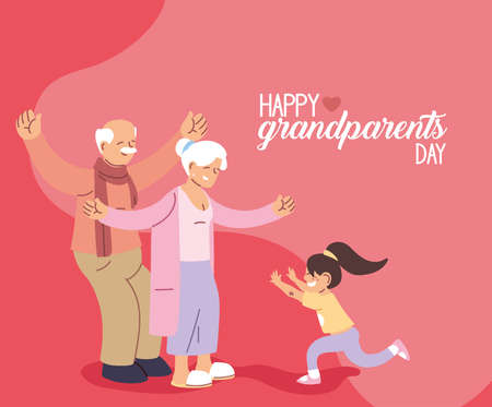 Grandmother and grandfather with granddaughter of happy grandparents day design, Old woman and man theme Vector illustration