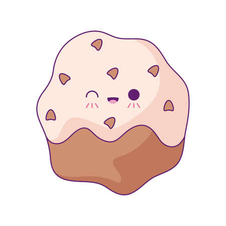 delicious cupcake pastry kawaii style vector illustration design