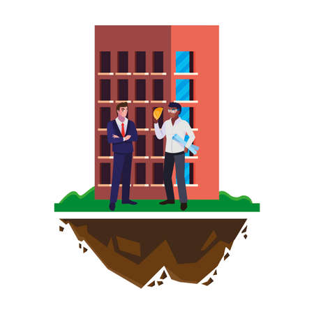 afro male builder with engineer and building vector illustration design
