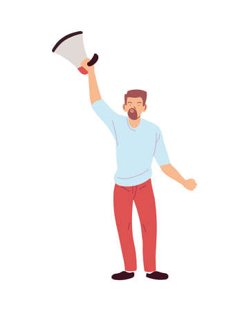 man cartoon holding megaphone design, Manifestation protest and demonstration theme Vector illustration