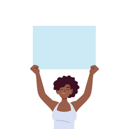 black woman cartoon holding banner board design, Manifestation protest and demonstration theme Vector illustration