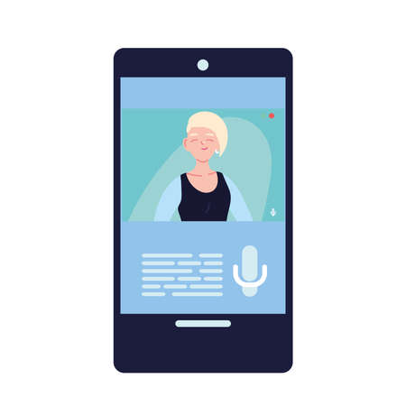 blond woman in smartphone in video chat design, Call online conference and webcam theme Vector illustration