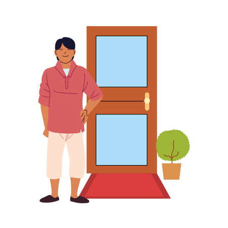 latin man cartoon in front of door design, Male person people human social media and portrait theme Vector illustration